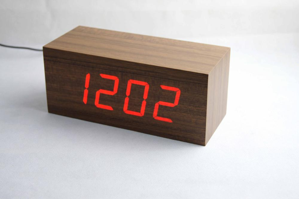 Best Selling Product Home Decoration Led Digital Cube Wooden Table Desk Time Date Temperature Display Voice Control Alarm Clocks
